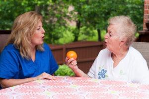 Stroke patient in speech therapy